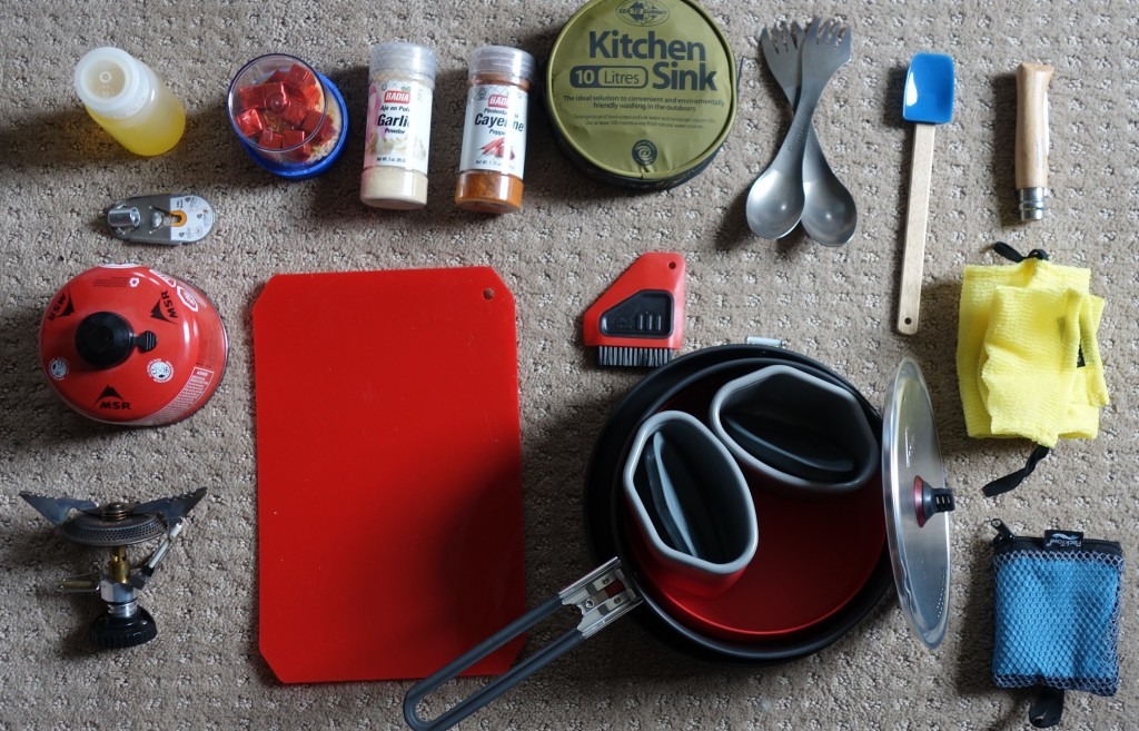 Cooking kit laid out