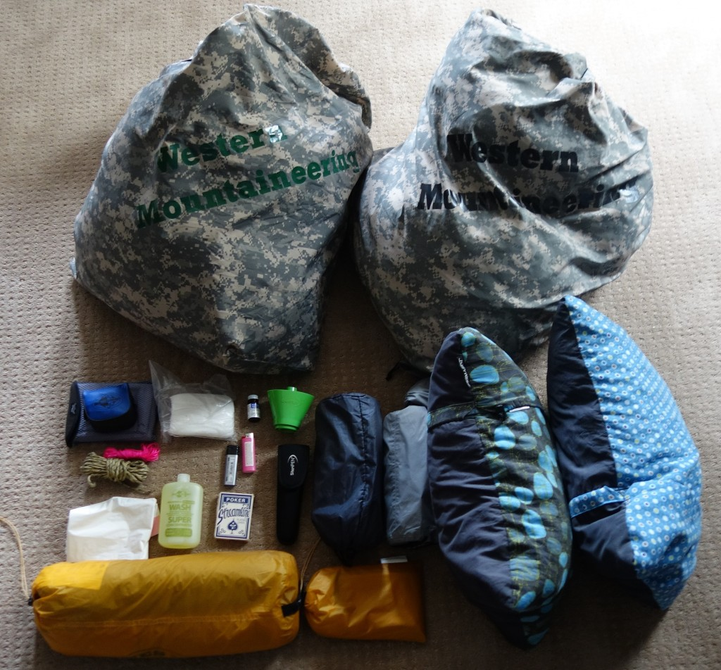 Camping kit laid out