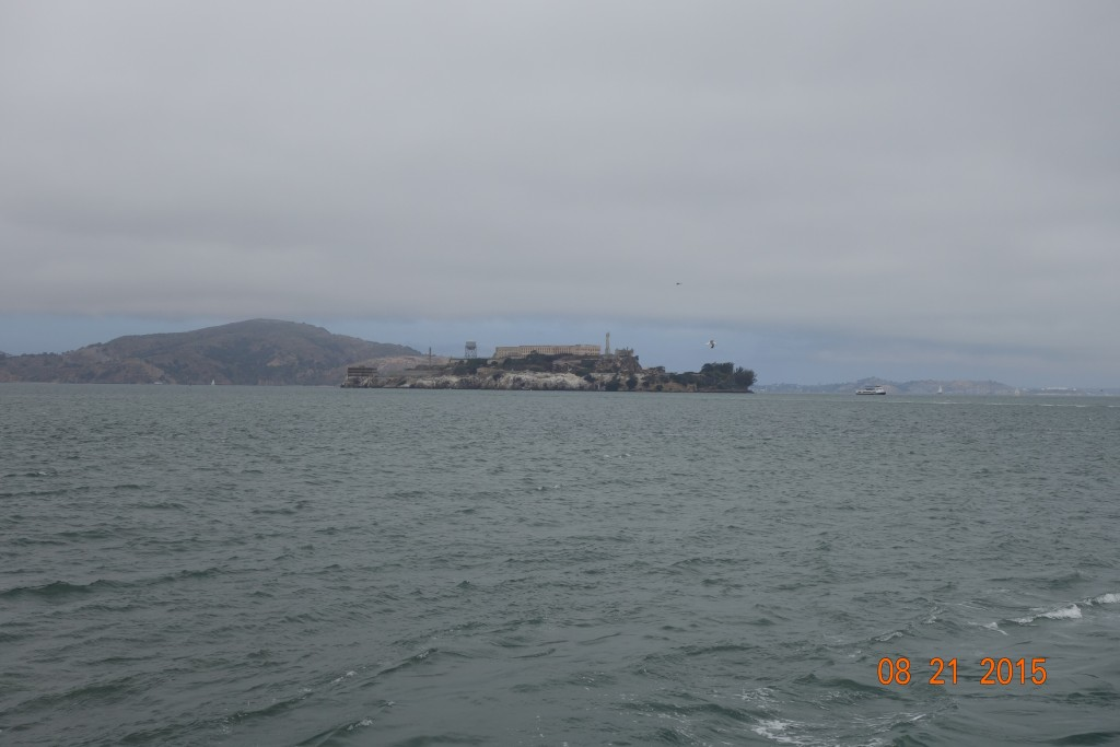 View of Alcatraz from the Pier across from the Ghirardelli buildling.