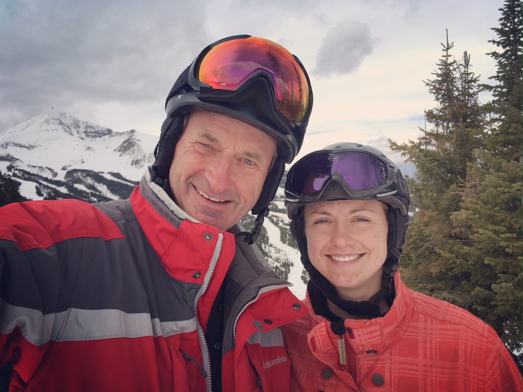 dad and I skiing