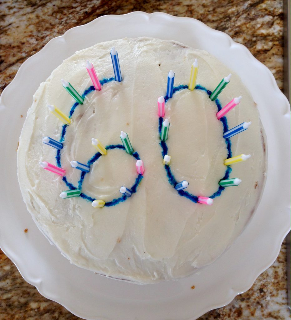 60th birthday round carrot cake